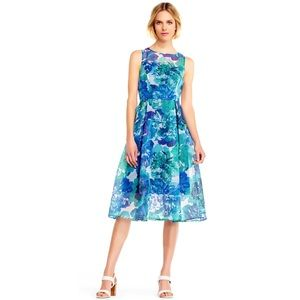 Adrianna Papell Ribbed Floral Organza Midi Dress